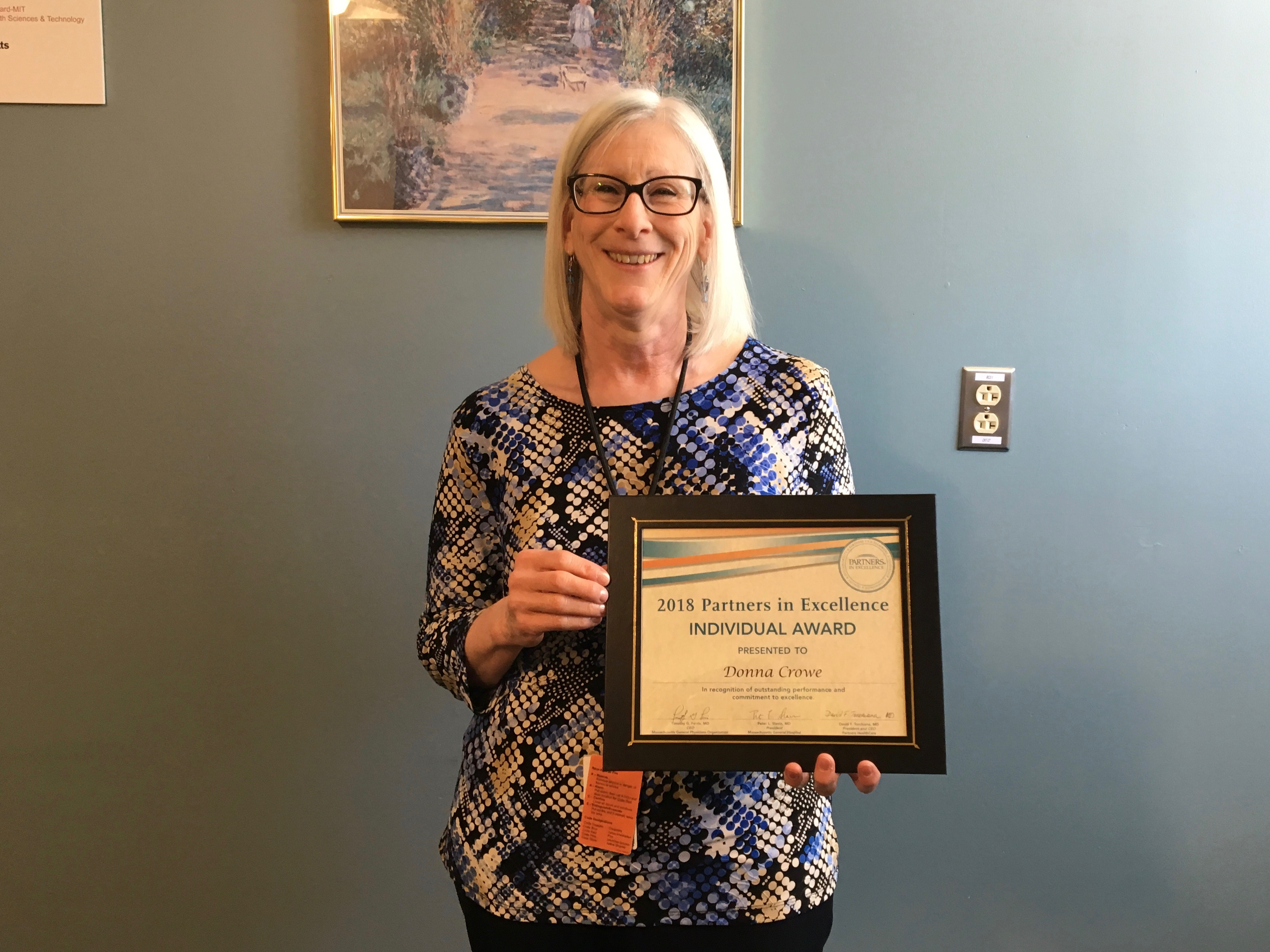 "From the ""We Already Knew This"" File: Partners Recognizes Donna Crowe's Excellence"